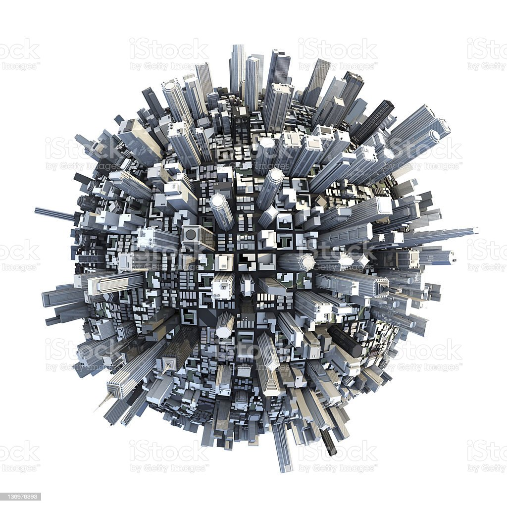 isolated miniature chaotic urban planet stock photo