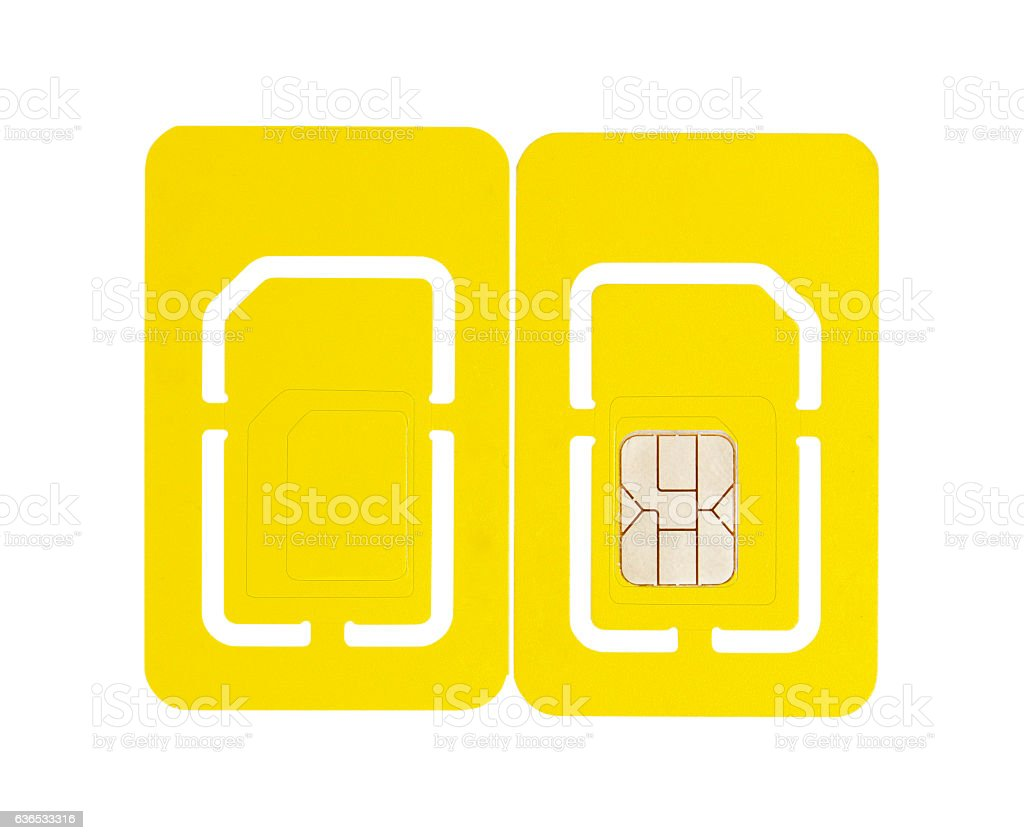 Isolated Mobile Phone SIM Card front Back stock photo