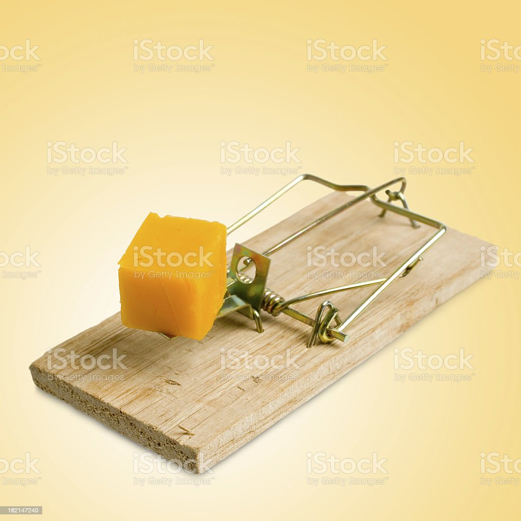 Isolated Mousetrap (yellow background) royalty-free stock photo