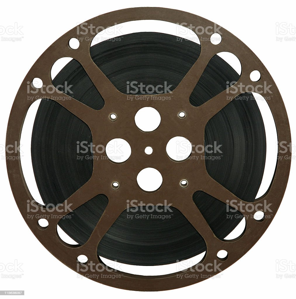 Isolated movie reel with film stock photo