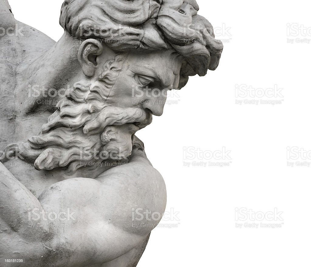 Isolated Neptune Statue Face from Piazza Navona stock photo