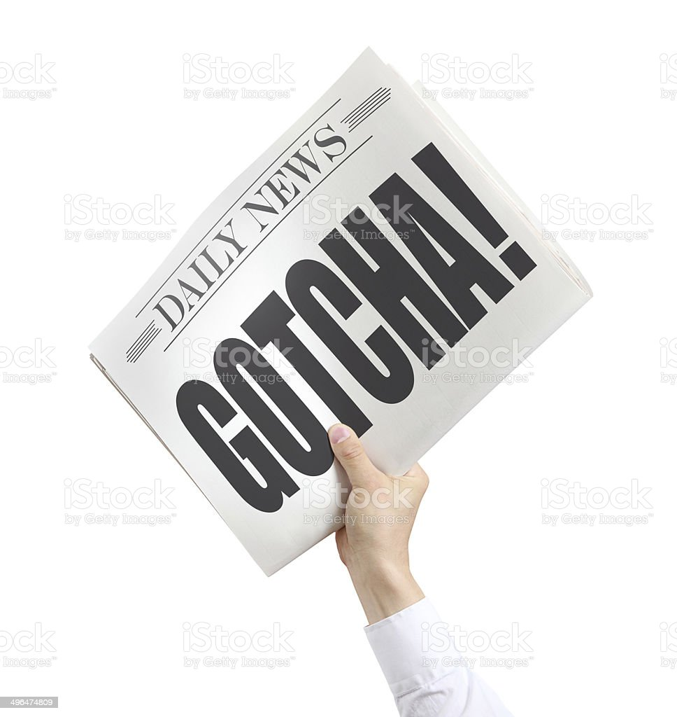 Isolated Newspaper with Gotcha royalty-free stock photo