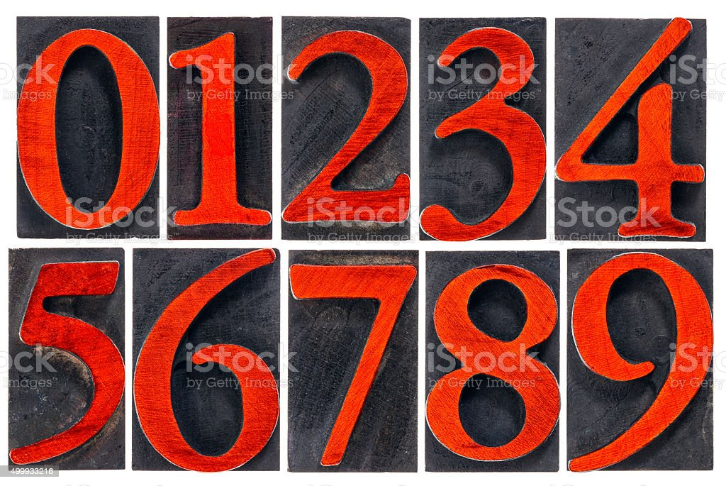 isolated number set in wood type stock photo