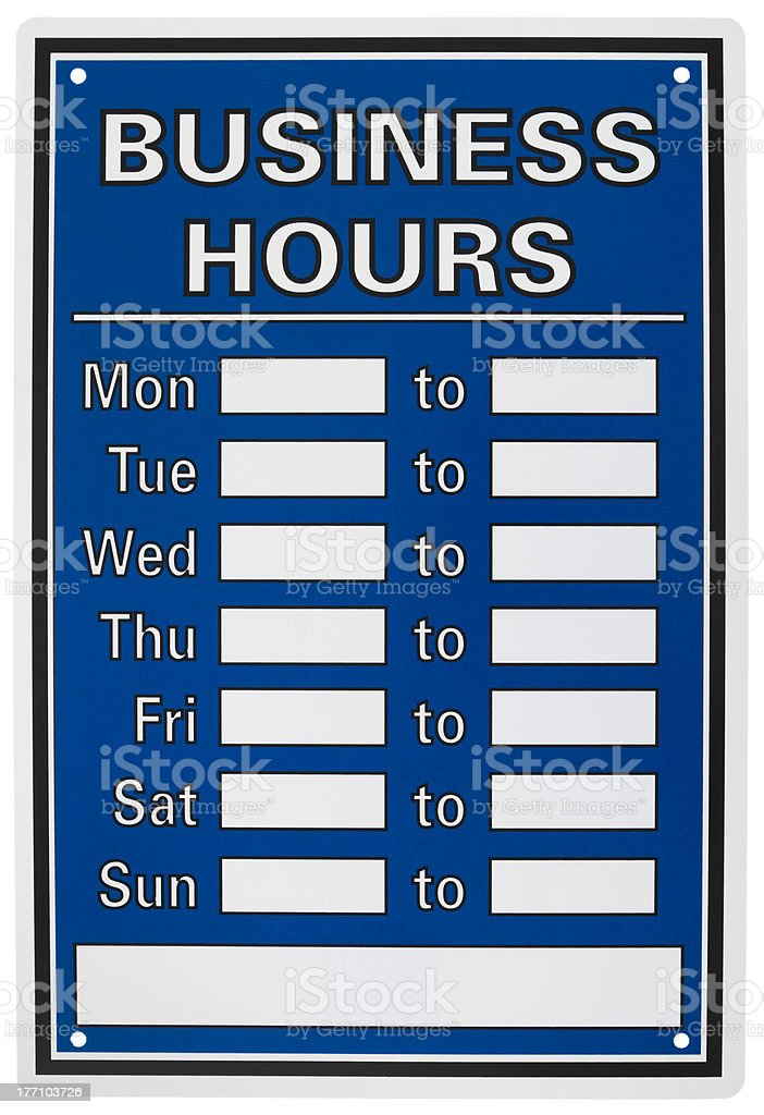 Isolated objects: business hours sign stock photo