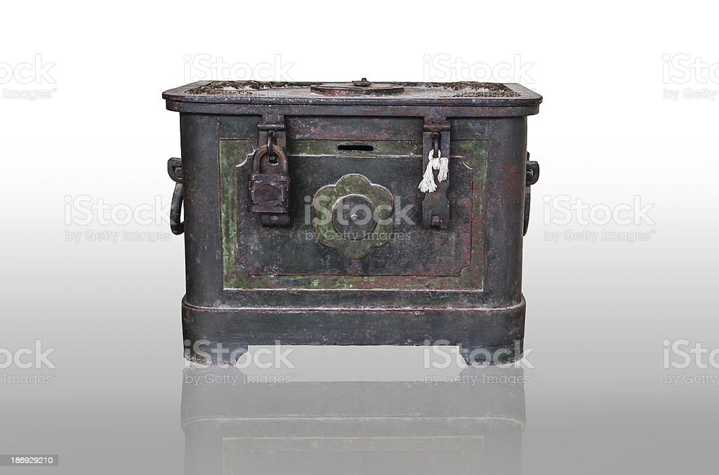 isolated old and rusty green iron box royalty-free stock photo
