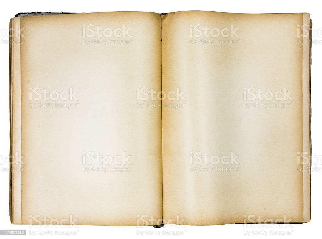 Isolated Old Book and Open Pages stock photo