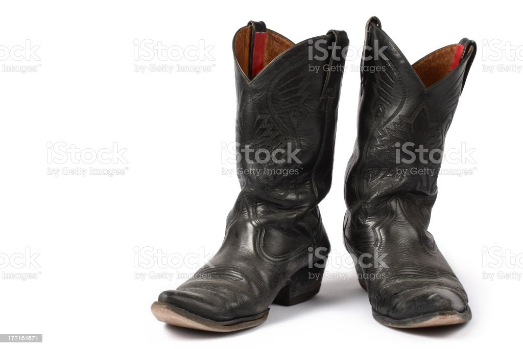 Isolated Old Cowboy Boots royalty-free stock photo