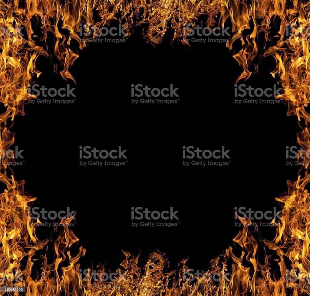 isolated on black orange fire frame royalty-free stock photo