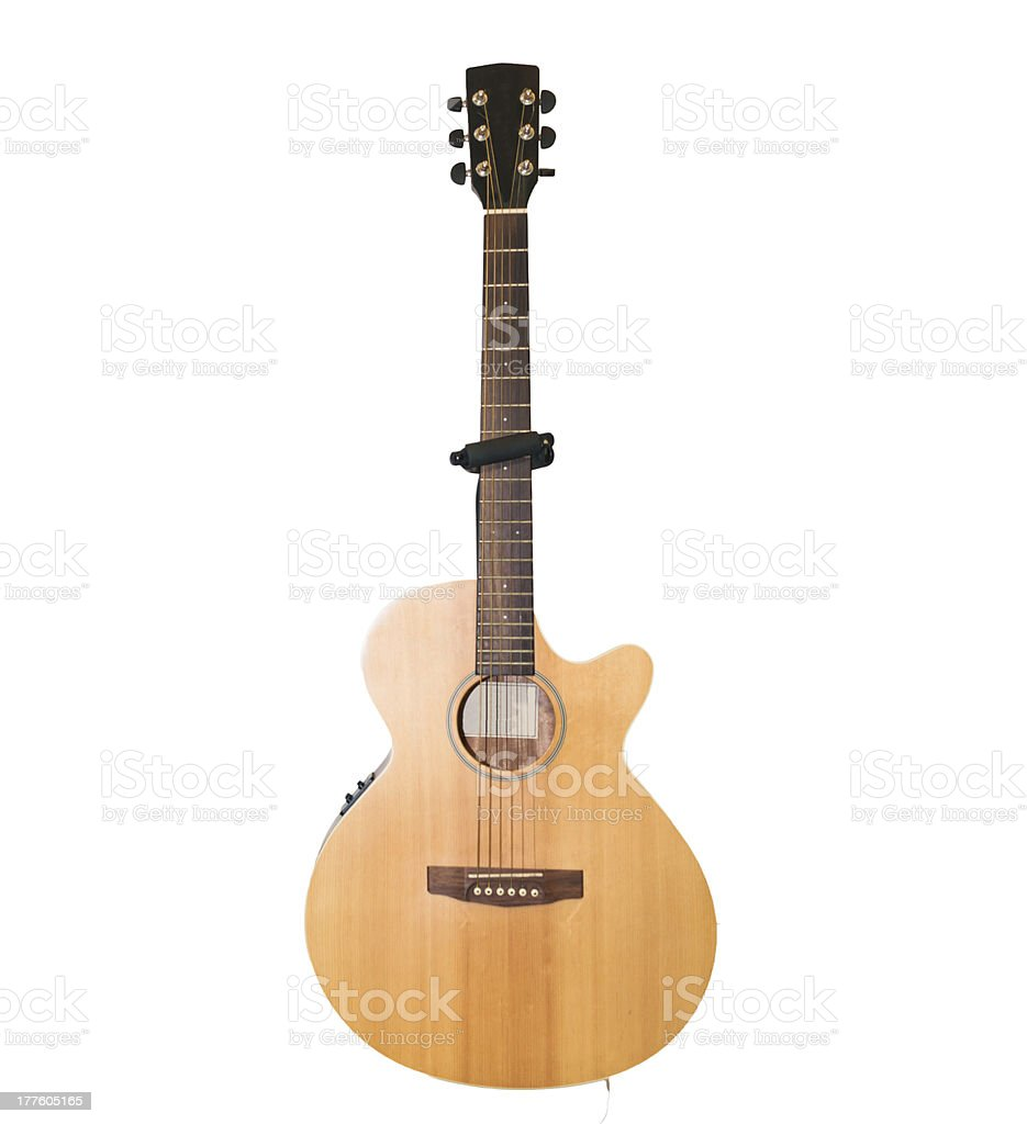 Isolated on white acoustic guitar royalty-free stock photo