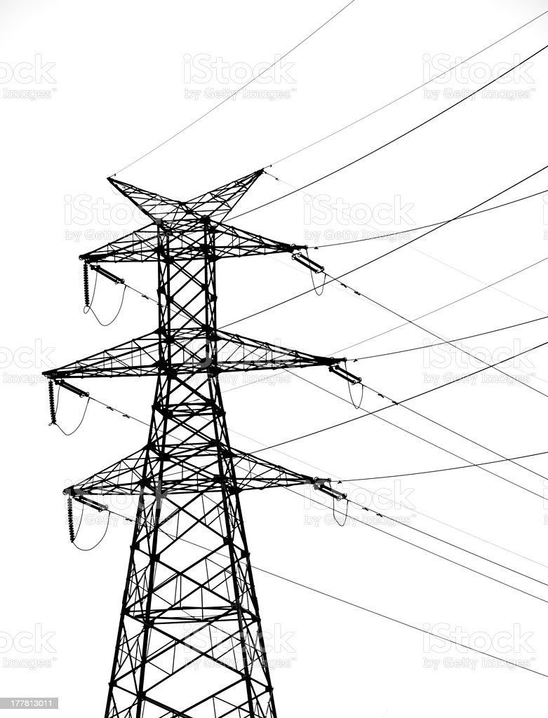 Isolated on white background of transmission tower royalty-free stock photo