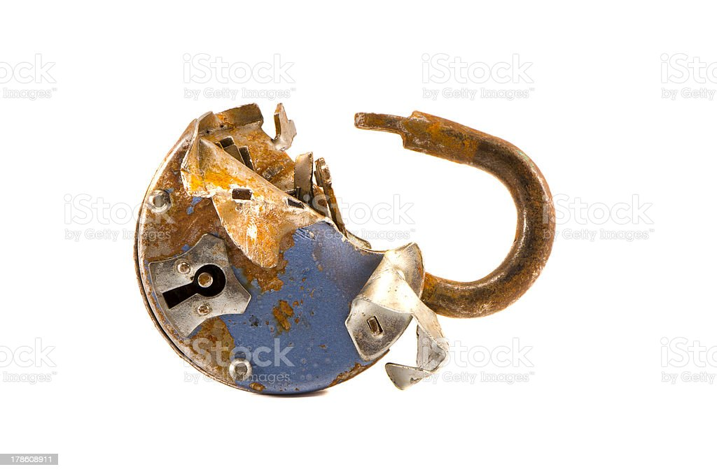 isolated on white broken old lock royalty-free stock photo