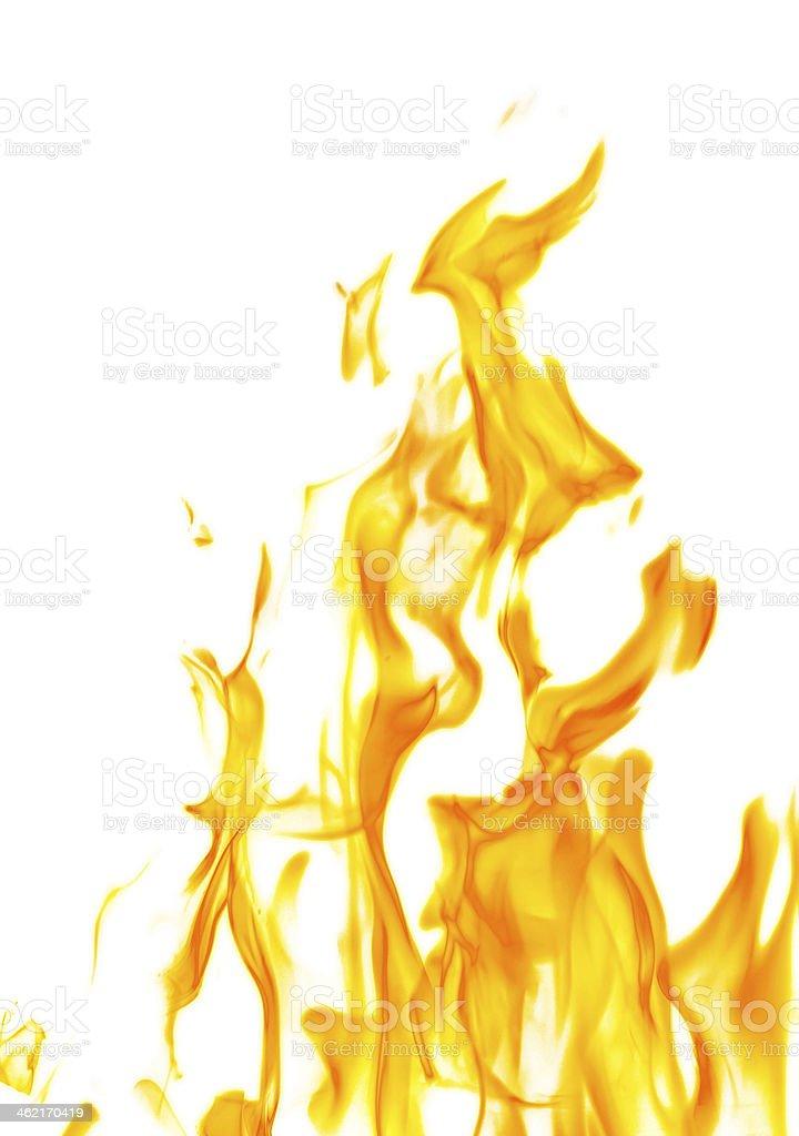 isolated on white dark yellow flame stock photo