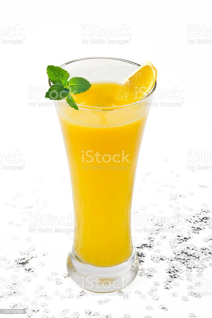 isolated on white fresh mint, lemon slices with cold lemonade stock photo