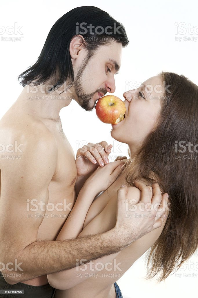 isolated on white male and female eating apple royalty-free stock photo