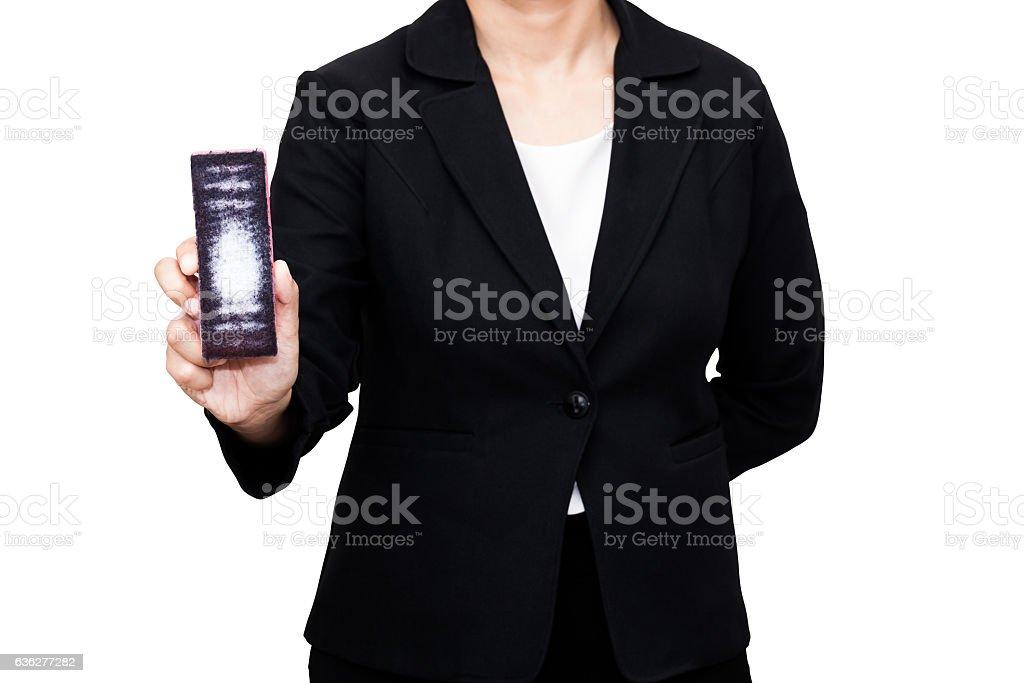 Isolated on white of business holding brush eraser whiteboard stock photo