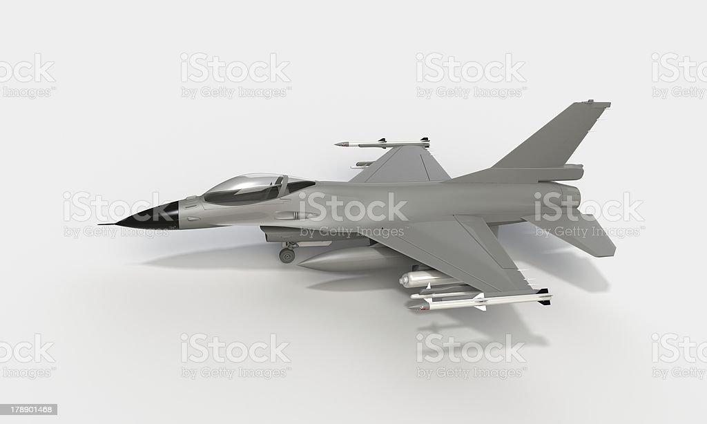 F-16 isolated on white stock photo