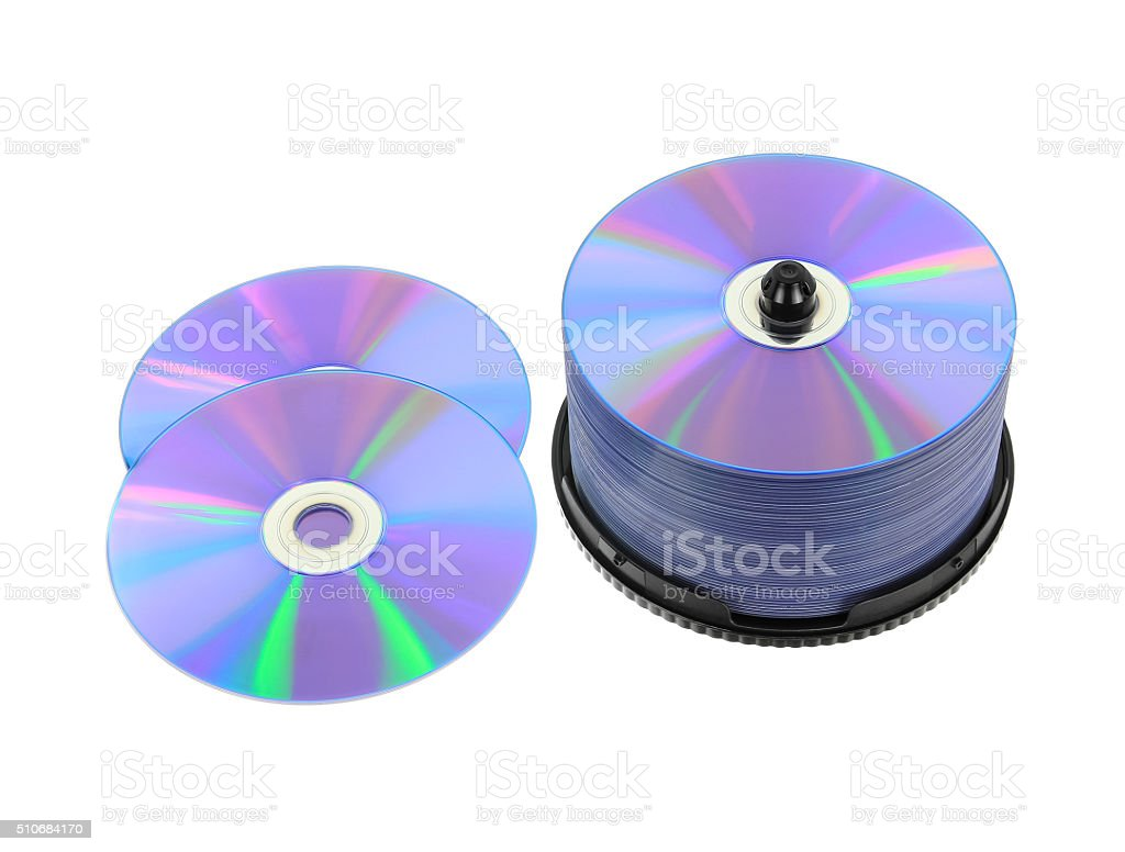 DVD, CD Isolated on White stock photo