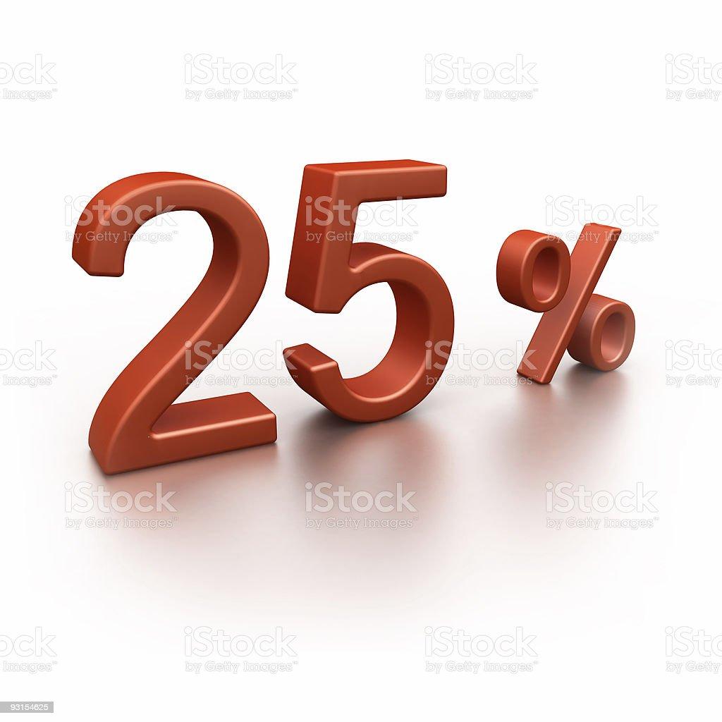 25% isolated on white royalty-free stock photo
