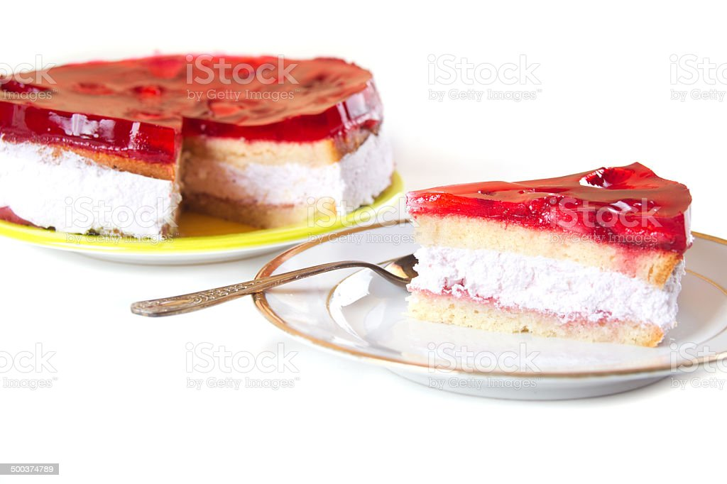 Isolated on white plate with cake royalty-free stock photo