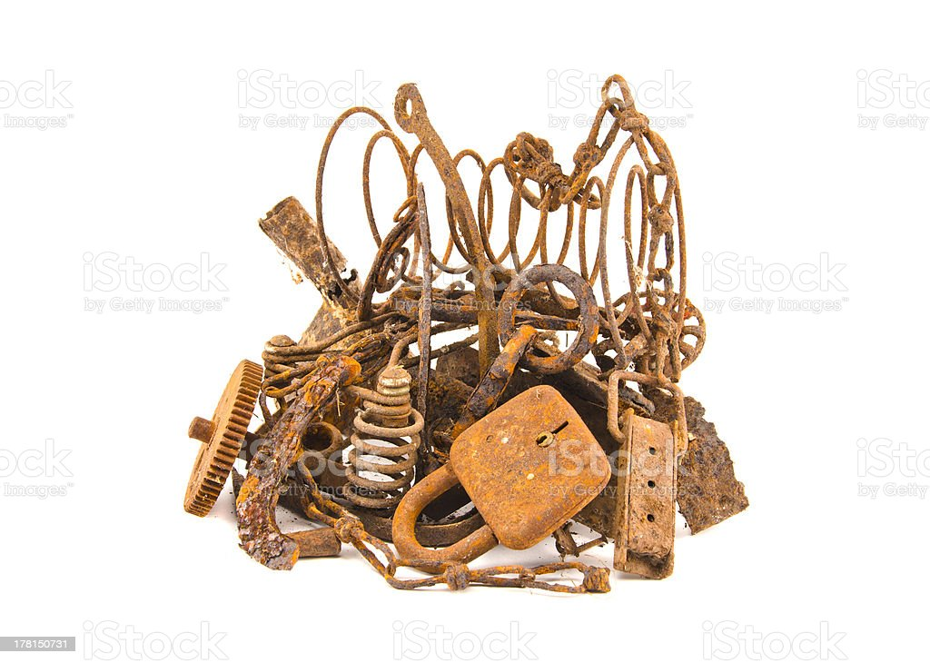 isolated on white rusty iron scrap metal royalty-free stock photo