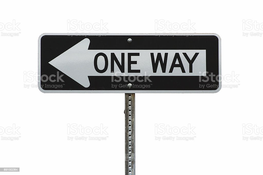 Isolated one way sign stock photo