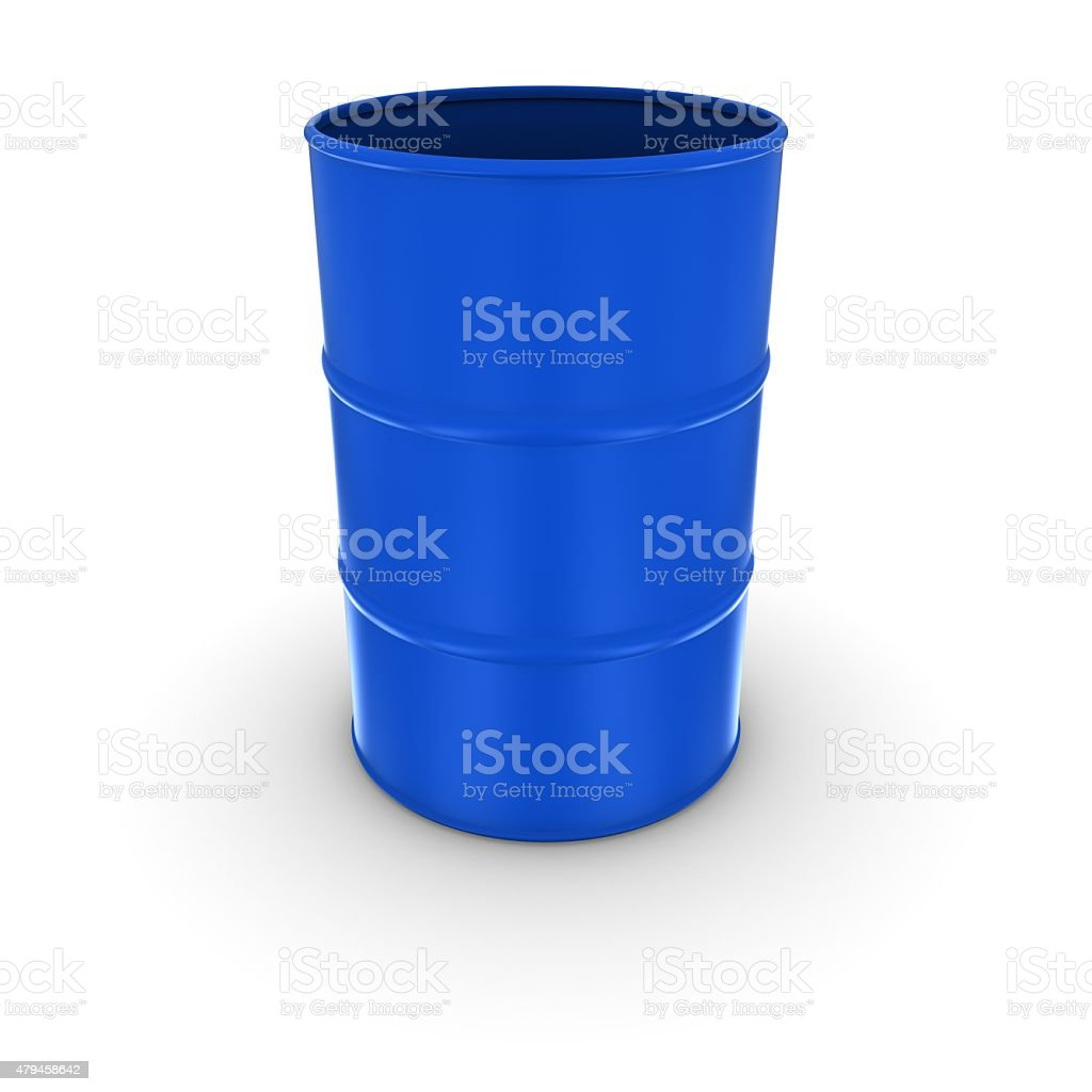 Isolated Open Blue Oil Barrel stock photo