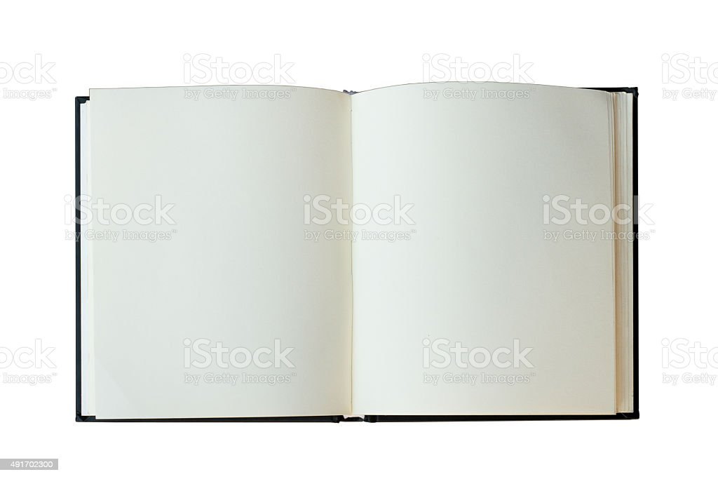 isolated open book on white backgfound stock photo
