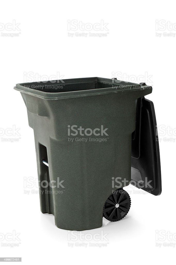 Isolated Open Garbage Bin stock photo