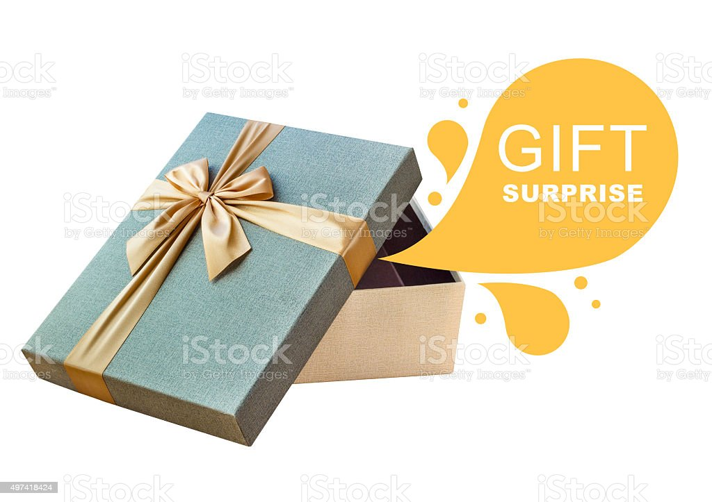 Isolated open gift box with callout stock photo