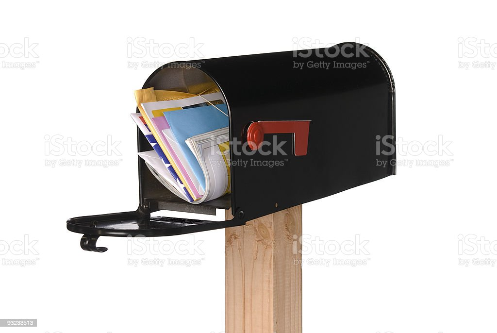 Isolated open mailbox with mail stock photo