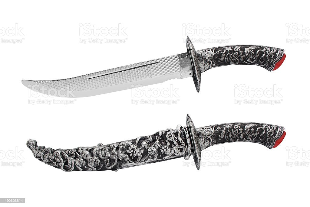 Isolated opened and closed knife with scabbard. stock photo