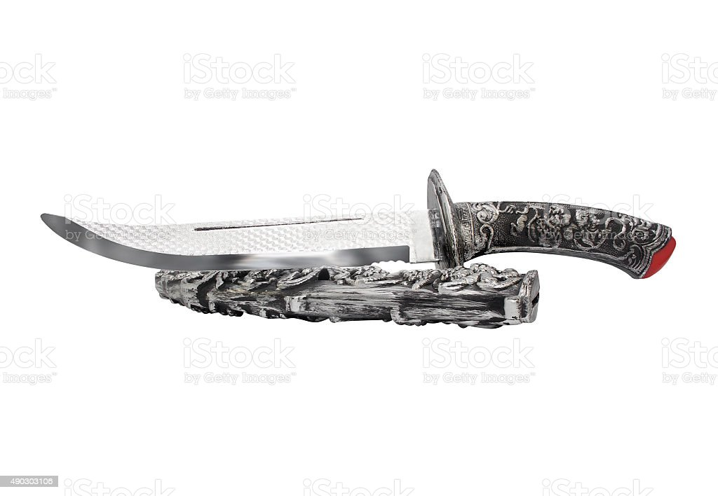 Isolated opened knife and scabbard. stock photo