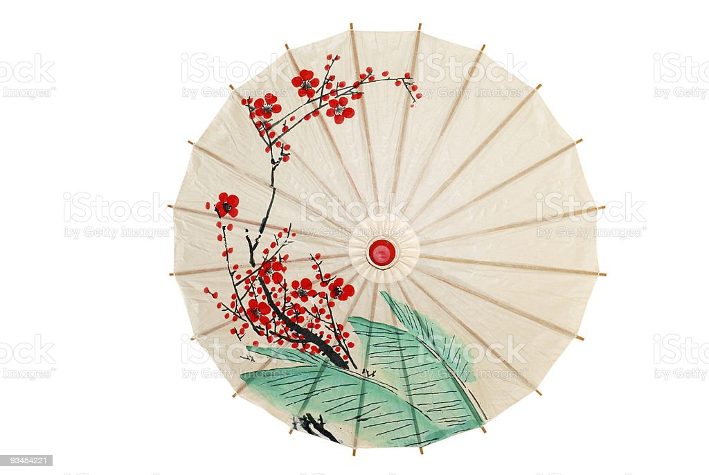 Isolated oriental umbrella with red flowers stock photo