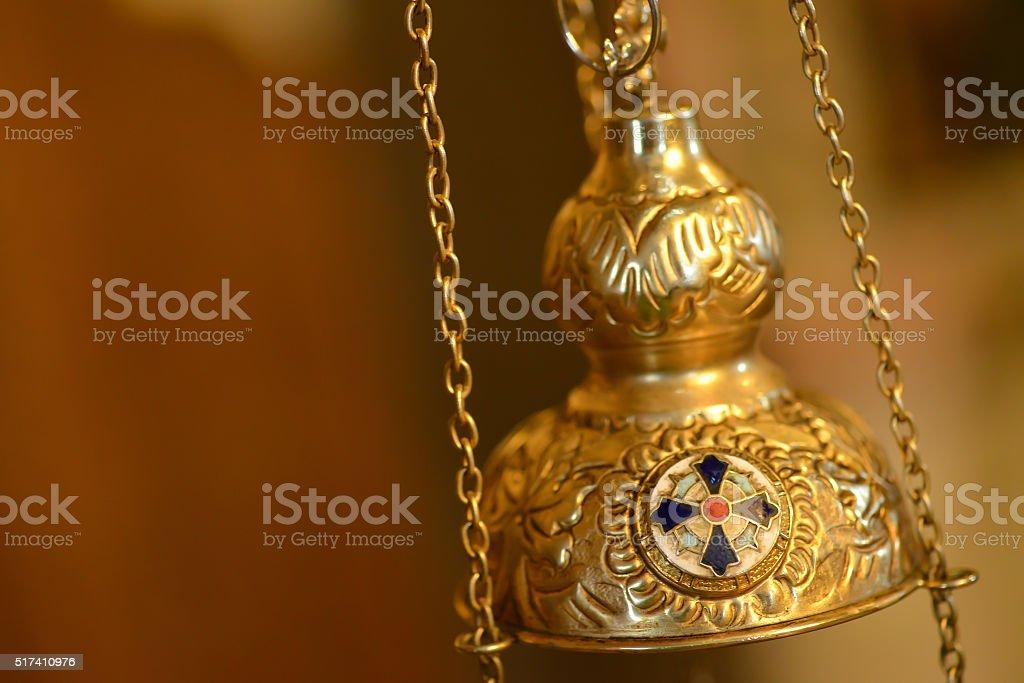 Isolated orthodox censer stock photo