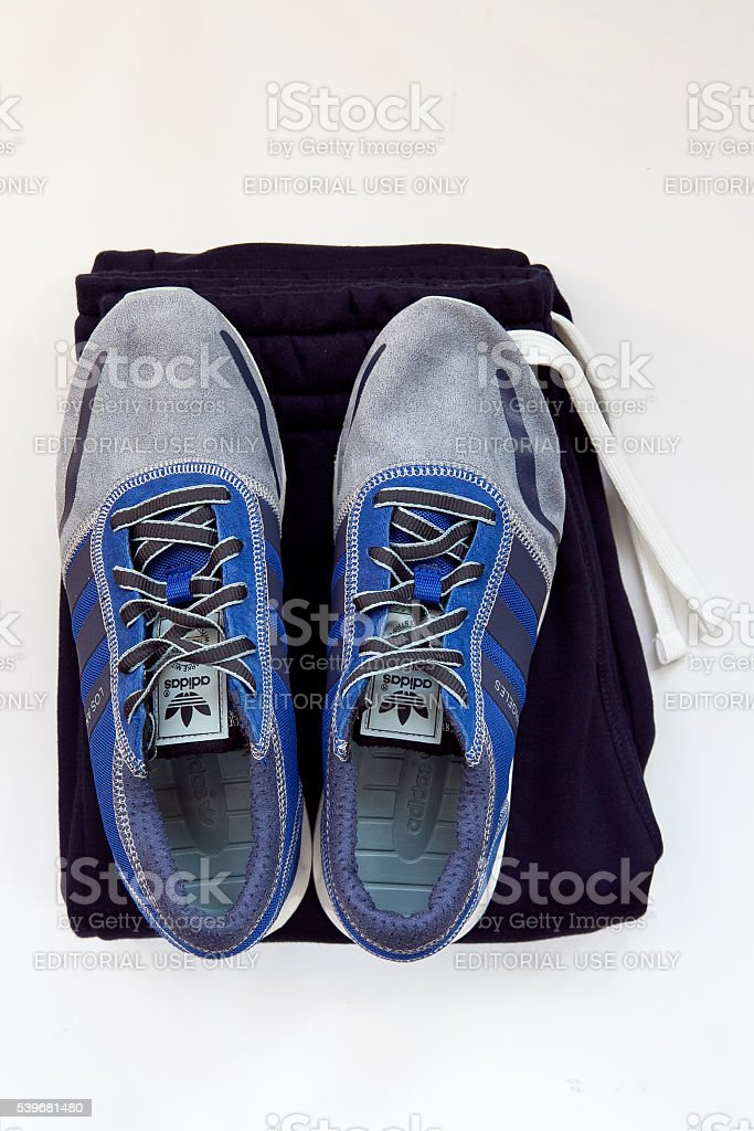 Isolated Pair Of Brand New adidas Shoes stock photo