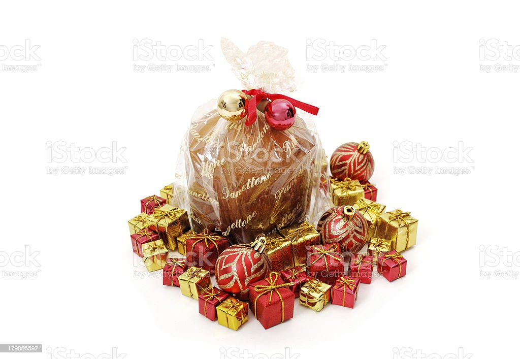 Isolated panettone and ornaments royalty-free stock photo