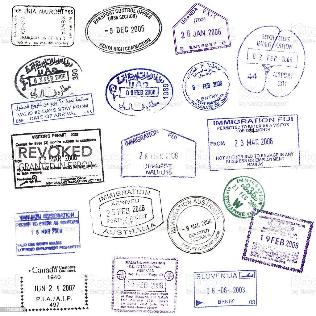 Isolated Passport Stamps (XXXL) stock photo