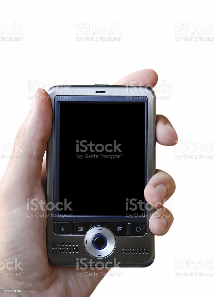 isolated pda in hand royalty-free stock photo