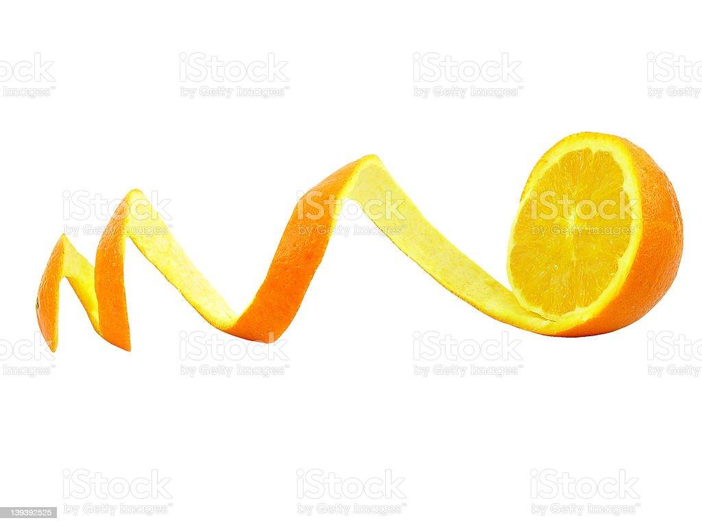 Isolated peeled orange stock photo