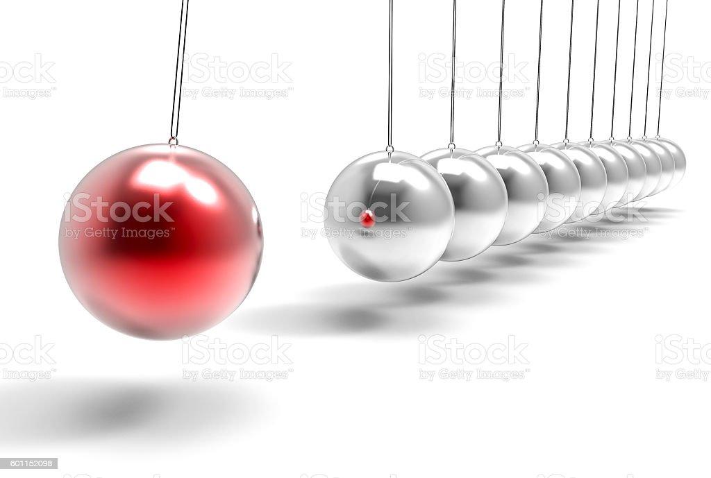 3D Isolated Pendulum Balls Ilustration. Business Teamwork Concep stock photo