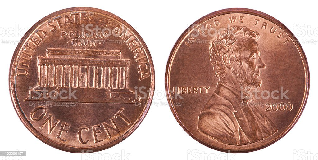 Isolated Penny - Both Sides Frontal stock photo