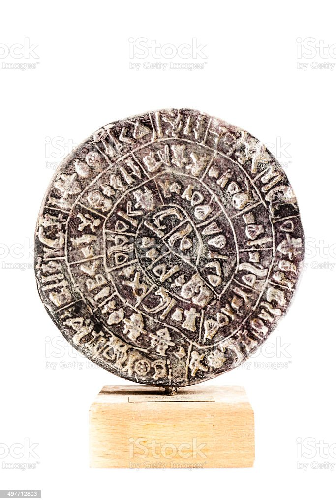 Isolated Phaistos Disc stock photo