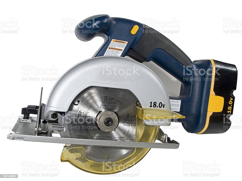 Isolated photo of a blue cordless circular saw stock photo