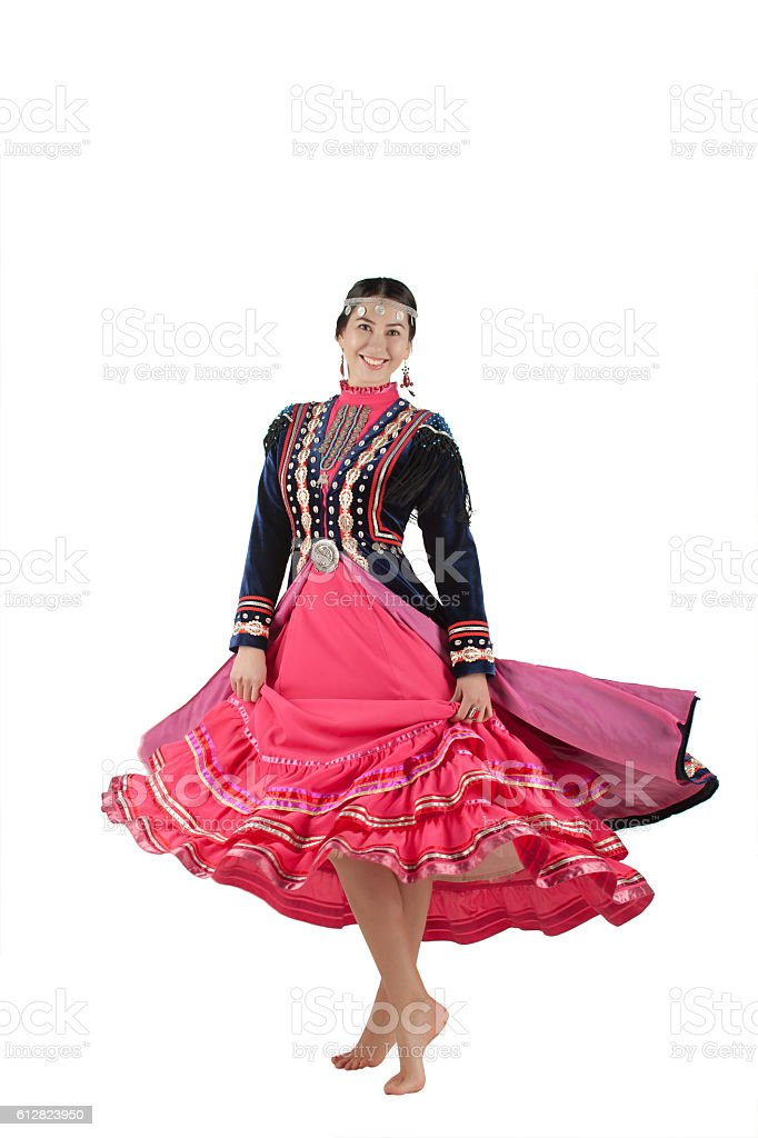 isolated photo of the girl eastern appearance in a full-length stock photo