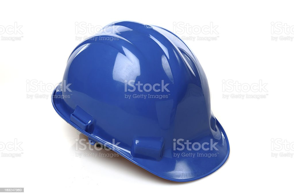 Isolated picture of a blue construction hat royalty-free stock photo