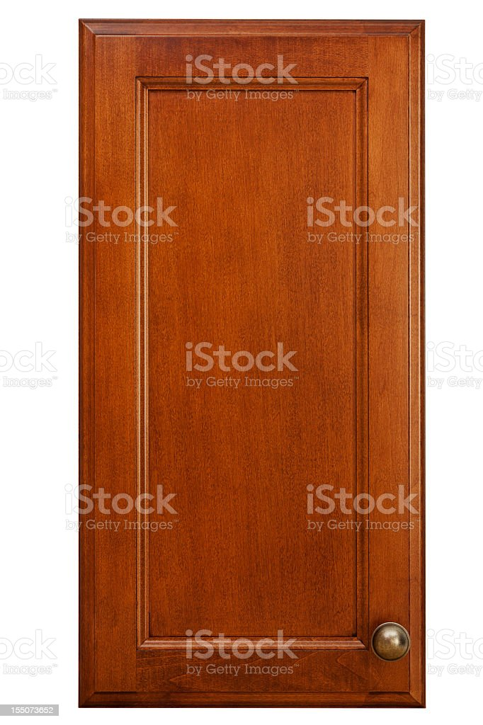 Isolated picture of a cherry wood kitchen cabinet door stock photo