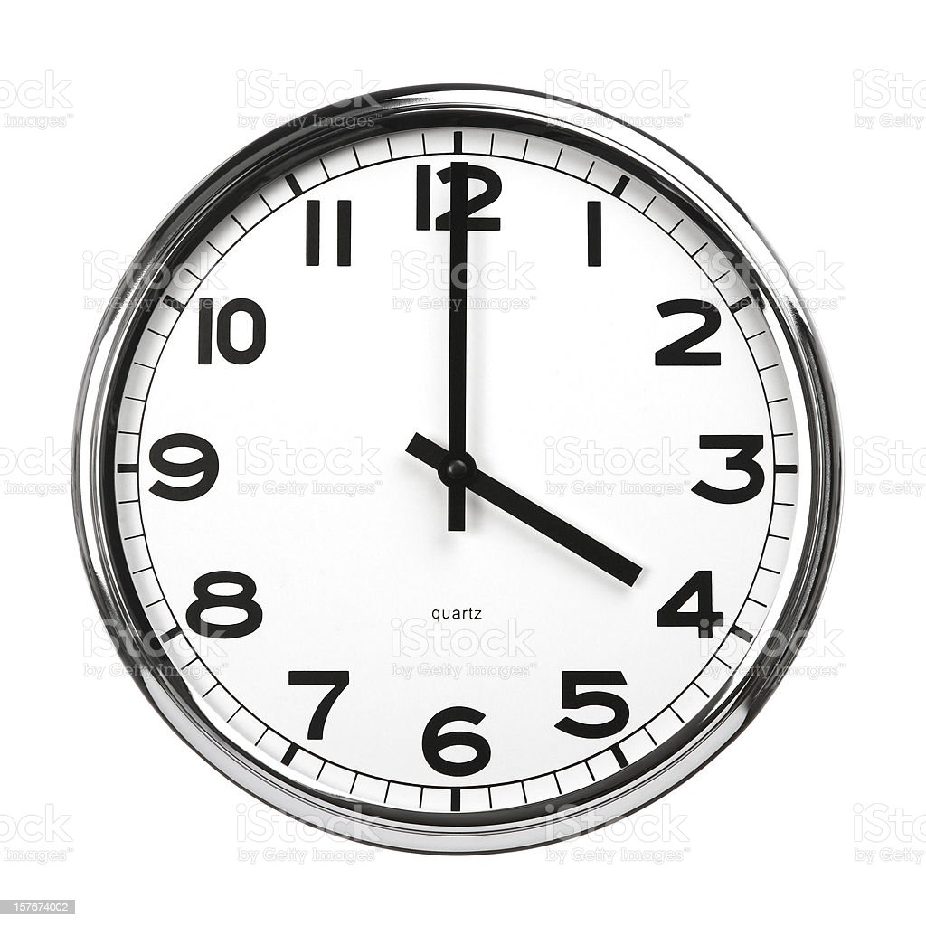 Isolated picture of a clock pointing at 4 o' clock royalty-free stock photo