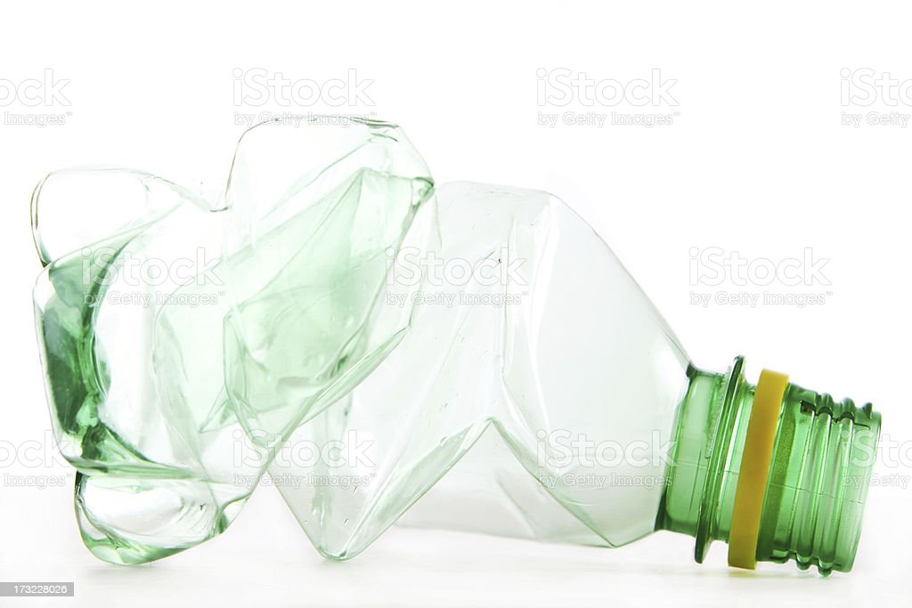 Isolated picture of a crumpled water bottle royalty-free stock photo