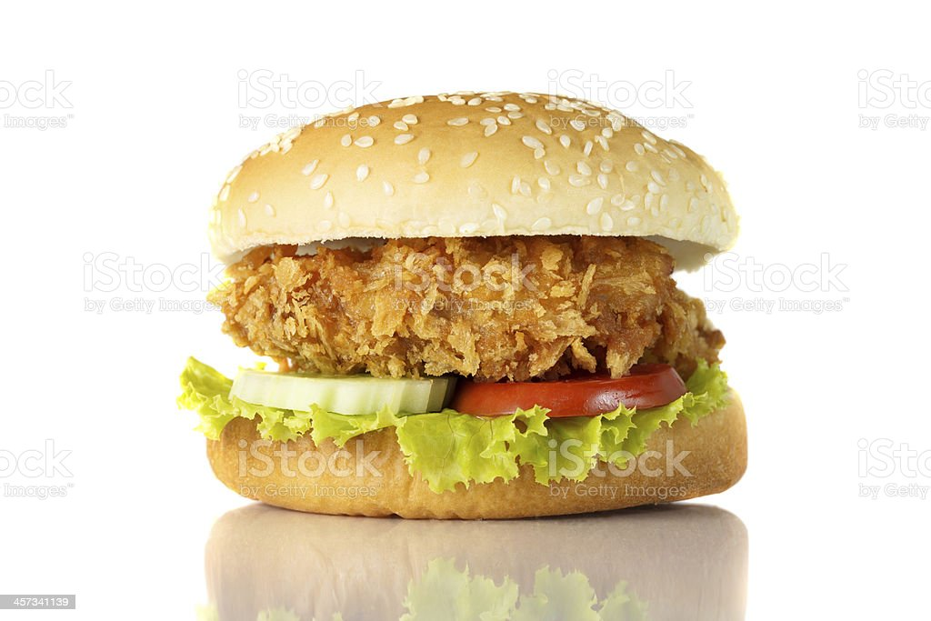 Isolated picture of a fried chicken hamburger stock photo