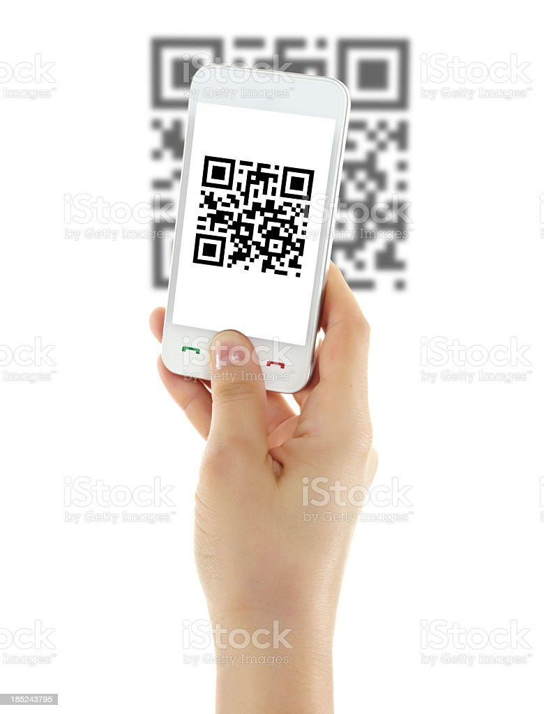 Isolated picture of a mobile phone scanning a QR code stock photo